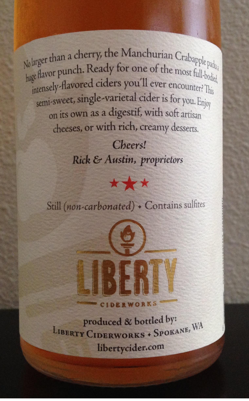 Liberty Ciderworks Manchurian Crabapple Single Varietal